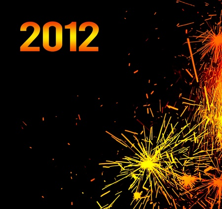 New Year eve holiday background with fireworks border, colorful sparks isolated on black background with text copy space photo