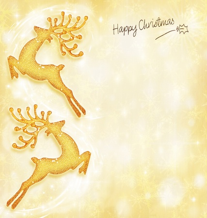 Christmas holiday card, golden background, reindeer decorative border, traditional tree ornament, abstract shiny glowing lights,winter holidays celebration photo
