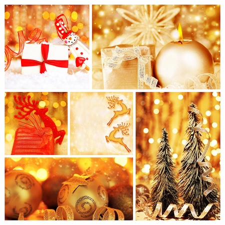 Golden collage of Christmas tree decorations, diversity of gold ornaments, winter holiday gifts and presents, bokeh shining backgrounds Stock Photo - 11312556