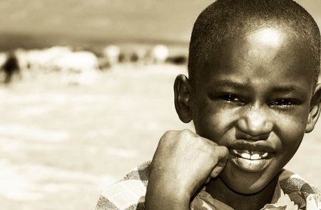 Portrait of African kid smiling, Masai Mara, Kenya