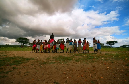Traditional jumps of african Samburu tribe. Africa. Kenya. Samburu