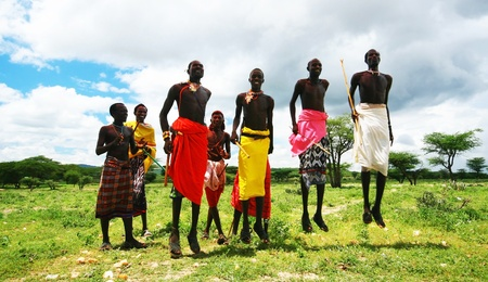 AFRICA,KENYA,Samburu,NOVEMBER 8:African warriors dancing traditional jumps as cultural ceremony,review of daily life of local people,near to Samburu National Park Reserve,November 8,2008 Kenya Stock Photo - 11306316