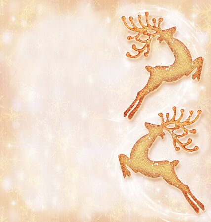 Christmas holiday card, festive background, reindeer decorative border, traditional tree ornament, abstract shiny glowing lights,winter holidays celebration photo