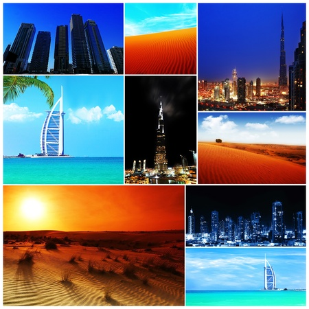 Collage of United Arab Emirates images, from wild nature to modern cities