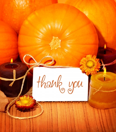 thanksgiving greeting: Thank you orange background, thanksgiving greeting card with pumpkin decorations and warm candle light, holiday still life with white copy space