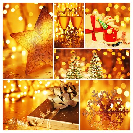 Golden collage of Christmas tree decorations, diversity of gold ornaments, winter holiday gifts and presents, bokeh shining backgrounds photo