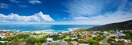 Cape Town city panoramic image, beautiful cityscape  and beach on Atlantic ocean coast, South Africa travel photo