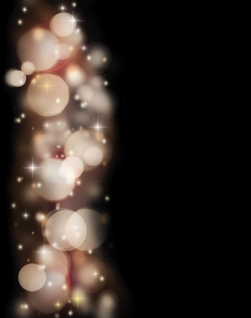 Abstract holiday border of glowing bokeh lights isolated on black background, beautiful shining stars and glitters, backdrop designed in Christmas style Stock Photo