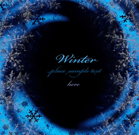 Dark blue winter decorative frame, snowflakes with glowing lights, beautiful cold snow on black background, Christmas ornamental and decorative border, holidays abstract design with text space photo
