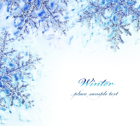 snow texture: Snowflake decorative border, beautiful blue cold frozen snow background, Christmas tree ornament and decoration, winter holidays abstract frame with text space
