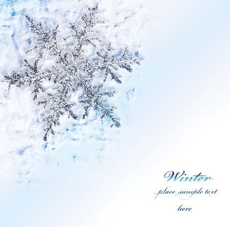 Snowflake blue decorative border, beautiful blue cold frozen snow background, Christmas tree ornament and decoration, winter holidays abstract frame with text space Stock Photo - 11599876