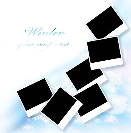 Blank picture frames, abstract snowflake decorative border, beautiful blue ornamental design with white text space, many empty photo collage, black copy space for winter holidays image photo