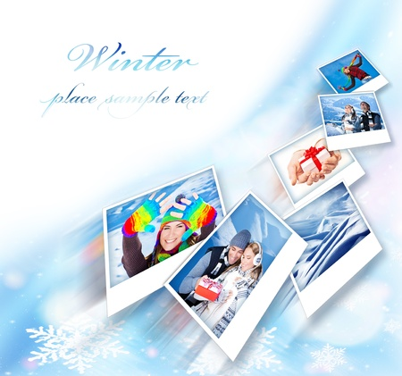Flying collage, winter photo border, abstract snowflake decoration with set of many concept pictures, blue ornamental design with white copy space, holidays and happy people fun outdoor images photo