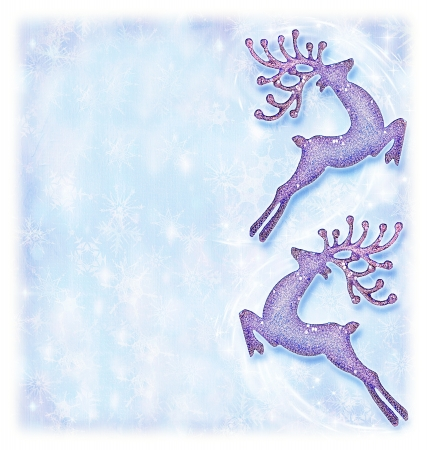 Christmas holiday card, festive background, reindeer decorative border, traditional tree ornament, abstract shiny glowing lights, winter holidays celebration photo