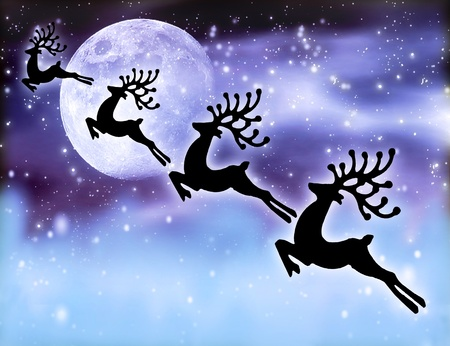 Reindeer silhouette at night sky, Santas deers flying high up next glowing stars background and moon, magic abstract fantasy, Christmastime winter holidays fairytale photo