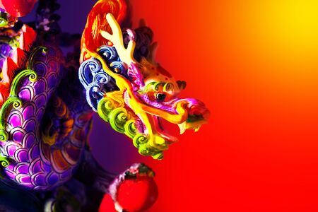 Colorful dragon head border, traditional Asian decoration and ornamental art, Chinese Zodiac, astrology sign, 2012 New Year symbol photo