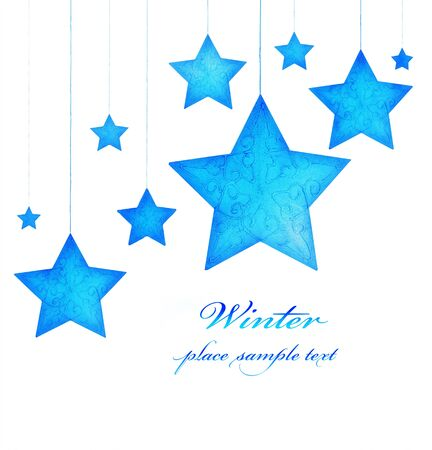 Blue stars border, Christmas tree ornaments and holiday decorations isolated on white background, greeting card with text space photo
