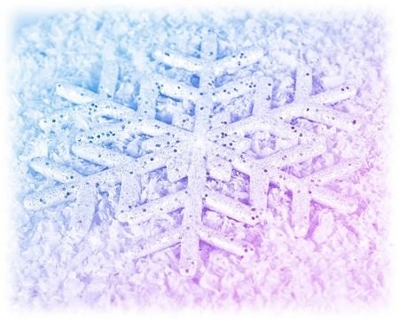 Snowflake winter holiday background, Christmas tree ornament and decoration, big blue pink snow flake card, abstract winter natural texture pattern, seasonal nature Stock Photo - 11600278