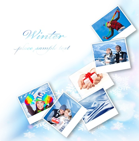Winter photo collage border, abstract snowflake decoration with set of many concept pictures, blue ornamental design with white text space, holidays and happy people fun outdoor images photo