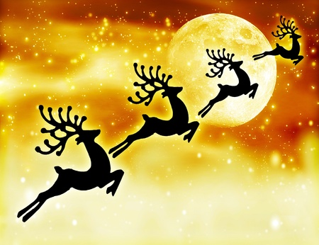 Reindeer silhouette at night sky, Santas deers flying high up next to glowing stars background and moon, magic abstract fantasy, Christmastime winter holidays fairytale photo