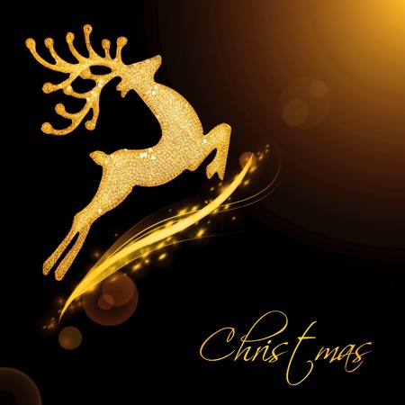 christmas reindeer: Flying Santas reindeer, black golden background border with glowing magic light and text space, Christmas tree ornament and winter holidays decoration isolated on black