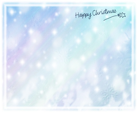 Beautiful blue happy Christmas card, winter holiday background, decorative paper with snow ornament and text space, snowflake texture pattern, greeting season abstract design photo