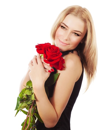 Beautiful female holding red roses bouquet, valentine romantic gift, woman isolated on white background, happy young girl with flowers photo