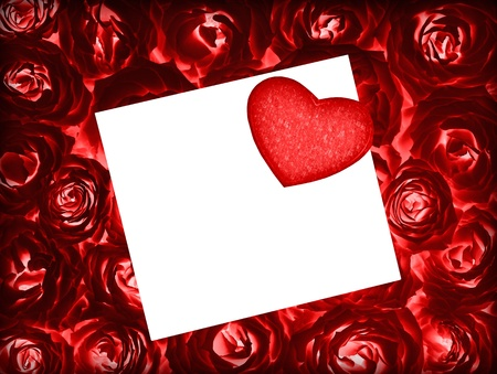 Red fresh roses background with red heart and blank white greeting card, valentine holiday gift, love concept Stock Photo - 12003111