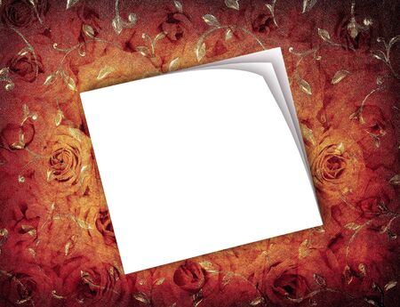 Grunge roses background, vintage old wallpaper with blank card, white sticky notes over retro floral paper, flowers pattern with texture Stock Photo - 12003136