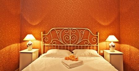 Romantic bedroom luxury interior design with warm light Stock Photo - 12588459