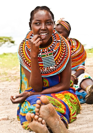colorful beads: AFRICA,KENYA, SAMBURU,NOVEMBER 8: Portrait of Samburu  woman wearing traditional handmade accessories,  review of daily life of local people, near Samburu Park National Reserve, November 8,2008,Kenya Editorial
