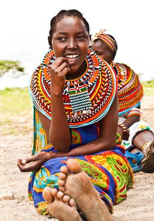 AFRICA,KENYA, SAMBURU,NOVEMBER 8: Portrait of Samburu  woman wearing traditional handmade accessories,  review of daily life of local people, near Samburu Park National Reserve, November 8,2008,Kenya Stock Photo - 12590532