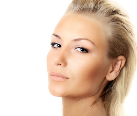 Closeup of beautiful female face isolated over white background, sexy blond woman with perfect soft skin, female beauty care, facial spa  photo