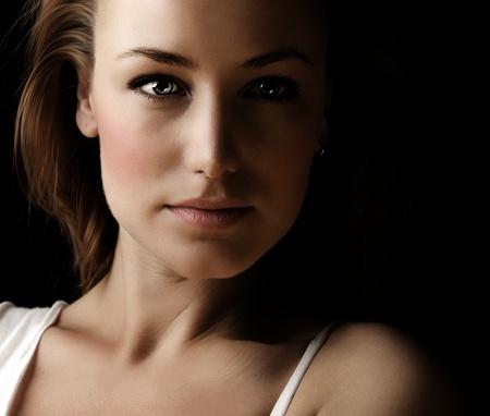 Glamor woman dark face portrait, beautiful female isolated on black background, stylish sexy look, young lady studio shot Stock Photo - 12981070
