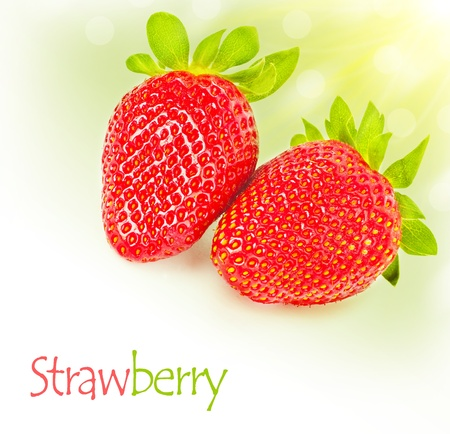 Fresh strawberries border, ripe red tasty berry isolated over white background, healthy fruit breakfast, organic nutrition and diet concept photo