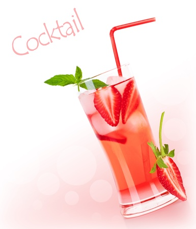 Cold strawberry drink border with white text space, refreshing summer beverage, red fruity cocktail with mint, glass of fresh juice photo