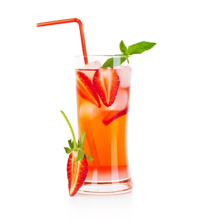 Cold strawberry drink isolated over white background, refreshing summer beverage, red fruity cocktail with mint, glass of fresh juice photo