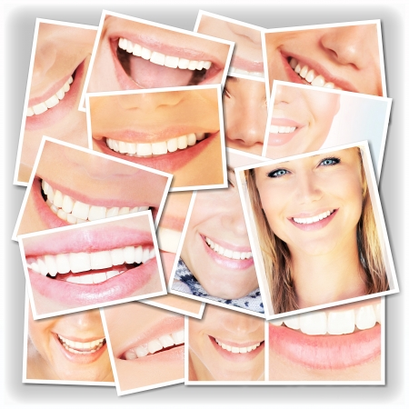 smile teeth: Smiling faces collage, happy young girls laughing, close up on beautiful healthy female lips and teeth, dental care concept Stock Photo