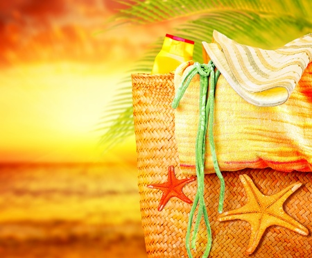 Sunset on the beach, summertime holidays nature background, concept image of vacation and travel, beach items outdoor, paradise island for relaxing getaway, natural spa resort, fun lifestyle Stock Photo - 13175237