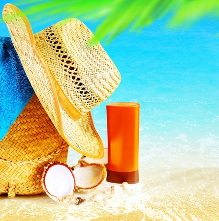 stuff: Summertime holidays background, concept image of vacation and travel, beach items on the sand, paradise island for relaxing getaway, natural spa resort, freedom lifestyle  Stock Photo