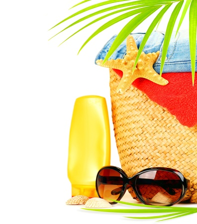 stuff: Conceptual summer fun border, beach items isolated on white background, summertime tropical vacation and travel, womens accessories for outdoor relaxation, holidays