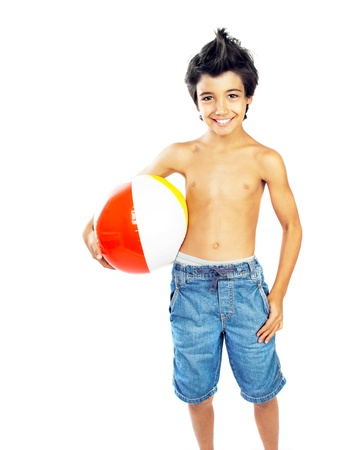 preteens beach: Happy boy with beach ball isolated over white background, kid having fun, healthy child playing game, cute teen enjoying sport and fitness, summer holidays and vacation