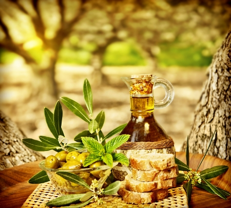 comida arabe: Olivos, la naturaleza muerta, los alimentos frescos en el jardín de olivos, tierras de cultivo en el campo de Líbano, hecho en casa el aceite de oliva sana y el pan, el tiempo de la cosecha Foto de archivo