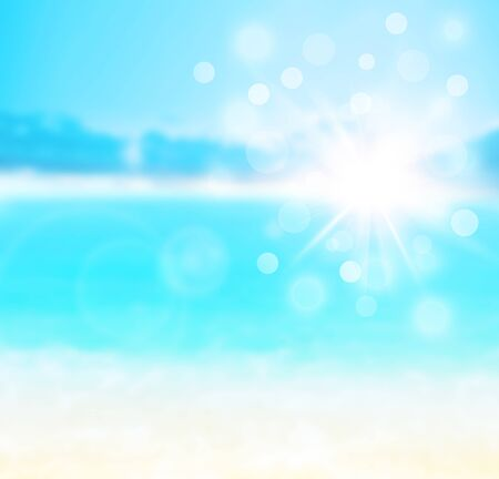 Blue blur natural abstract background, sandy beach backdrop with turquoise water, bright white sun light with bokeh, travel and summer holidays concept photo