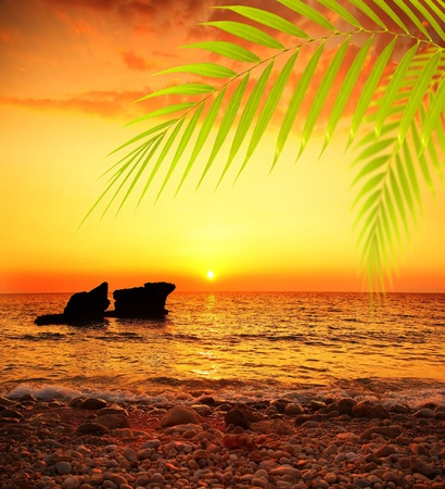 Sunset on the beach, peaceful summer landscape background, beautiful sea view, bright sun shining and calm sea, deep ocean waters, vacation and travel destination photo