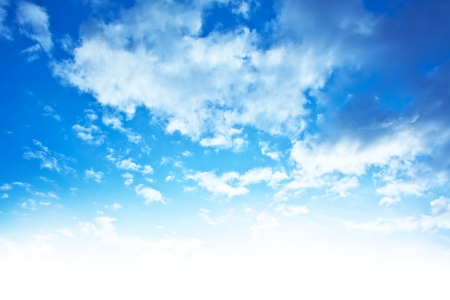 Blue sky background border, beautiful abstract natural backdrop, wallpaper clouds pattern, bright light, fresh clean clear cloudscape, skyscape image, peaceful nature with white add space photo