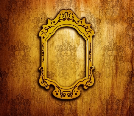 Vintage interior design, old golden mirror frame on retro grunge wall, artwork and picture aged framework, abstract dark background, wallpaper floral pattern, old fashioned style home furniture  photo