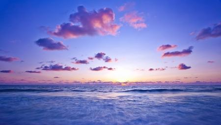 waterscape: Beach, pink light sunset, beautiful calm landscape of waterscape, peaceful Mediterranean sea panoramic view, zen blur motion on tide waves, deep ocean bay, summer scenic nature, vacation and travel