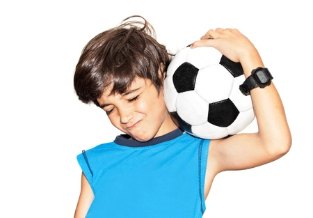 teens playing: Football player celebrating victory, cute little boy playing, kid enjoying team game, teen holding catching ball, happy child facial expression, sport fan portrait isolated on white background Stock Photo
