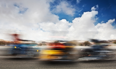 Slow motion on motorbikes, blur movement on bike riders, motorcycle road trip, summer US tour ride, people traveling on countryside highway, freedom lifestyle photo